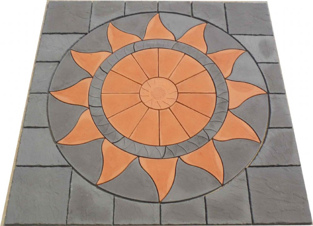 2560mm Aztec Sun Circle Terracotta ( Terracotta narrow Ring ) / Slate Grey Plus Slate Grey Infill